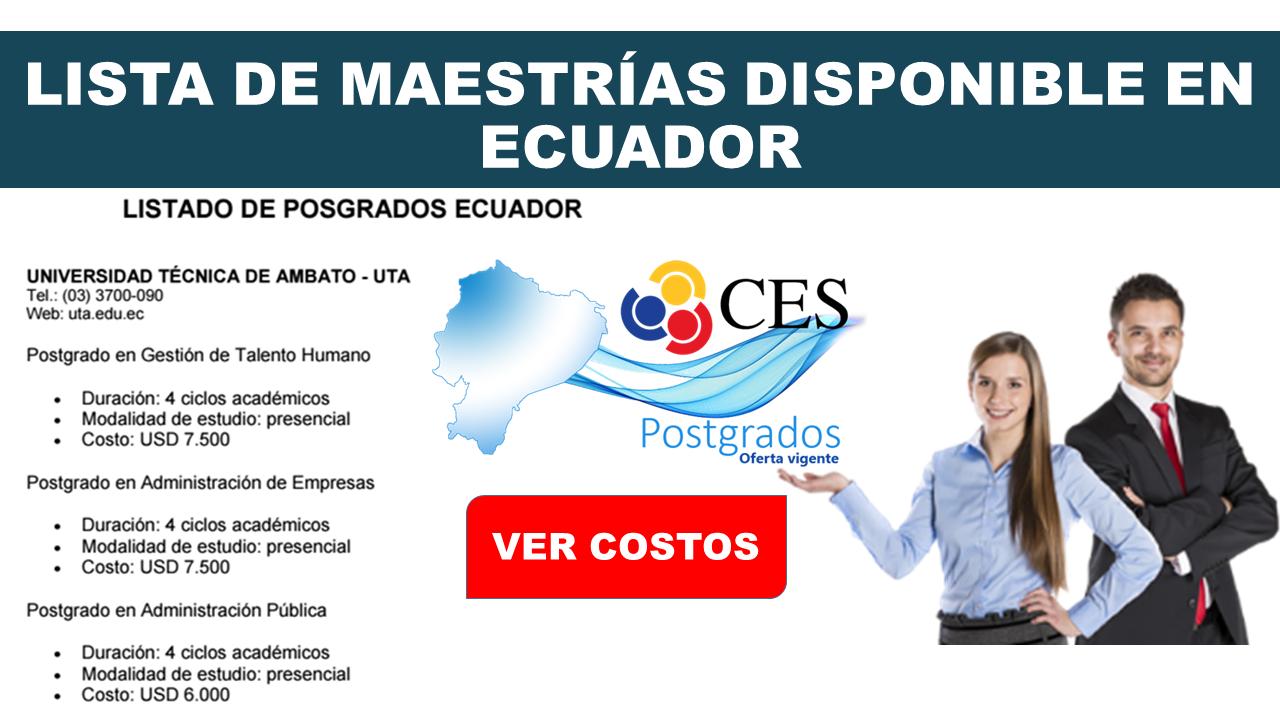 Lista de Maestrías disponible en Ecuador