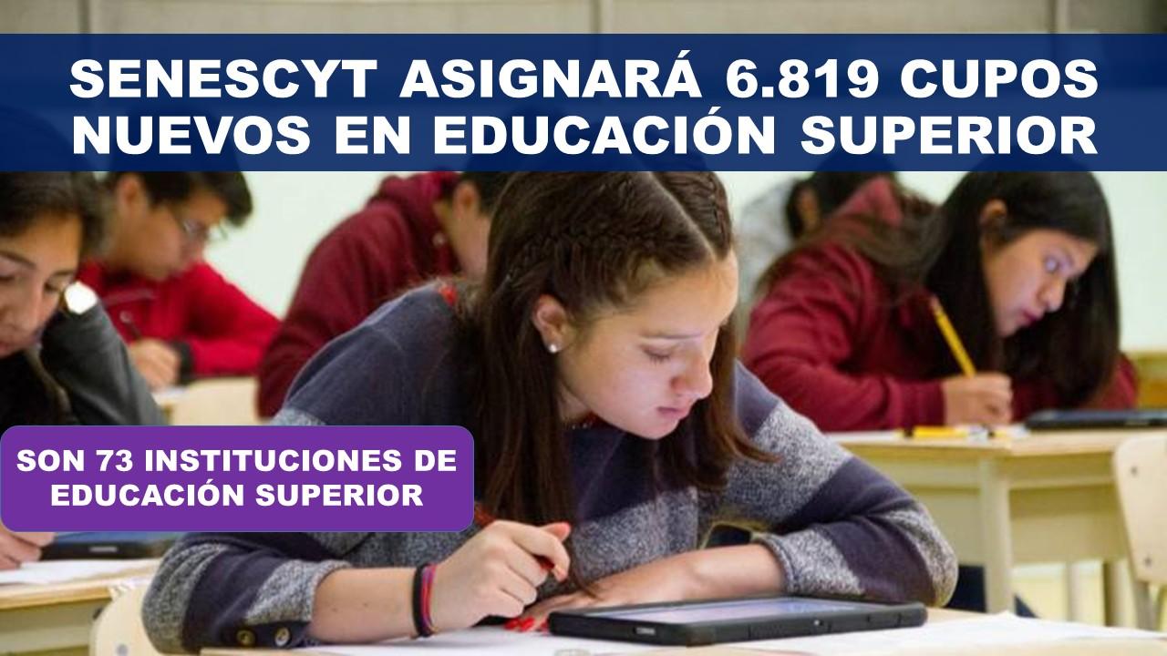 Senescyt asignará 6819 cupos en la educación superior