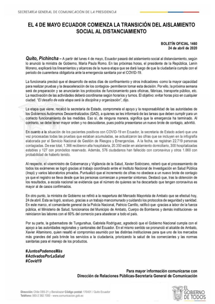 Fechas tentativas de apertura económica en Ecuador